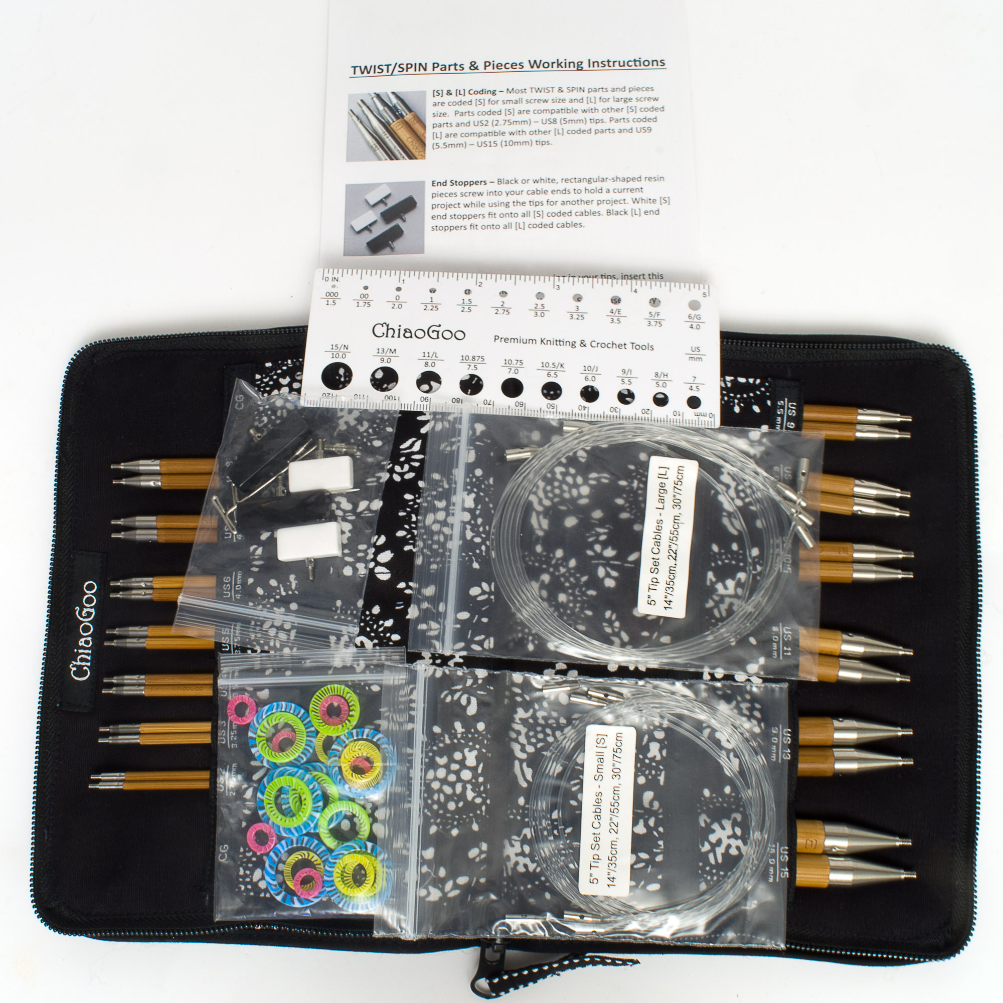"""BAMBOO SET Interchangeable Knit Needles US2 - US15 ChiaoGoo SPIN 5/"""" COMPLETE"""